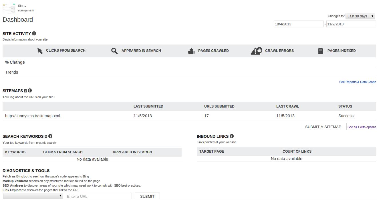 آموزش بینگ وب مستر تولز Bing Webmaster Tools