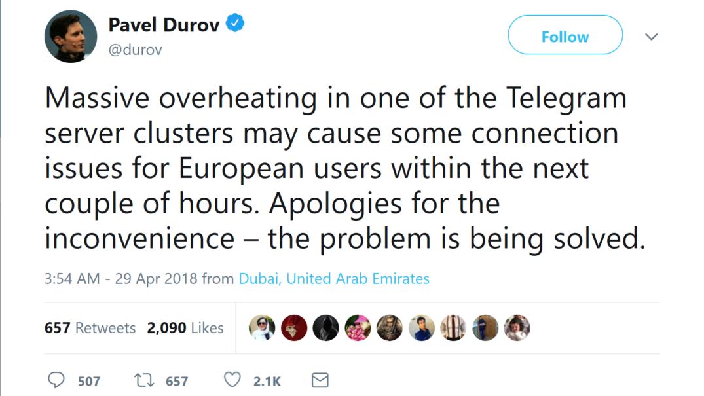 یکی از سرورهای کلاستر تلگرام در اروپا به دلیل گرمای بیش از حد، از دسترس خارج شده که نتیجه اش، عدم دسترسی بسیاری از کاربران، در سراسر دنیا، به این پیام رسان محبوب شده.